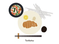 Food illustration set // Tonkatsu