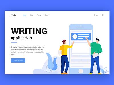Writing Application website illustration app web ux ui