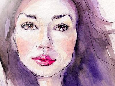 Miljana portrait watercolour painting fashion girl woman eyes lips illustration ethereal