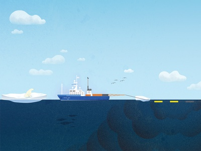 Seismic Blasting greenpeace cloud polar bear vessel ship seismic testing iceberg arctic texture illustration
