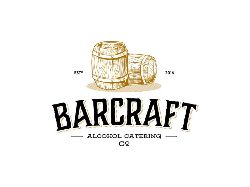 Vintage logo for Alcohol Catering barrel logo vintage classic handdrawing