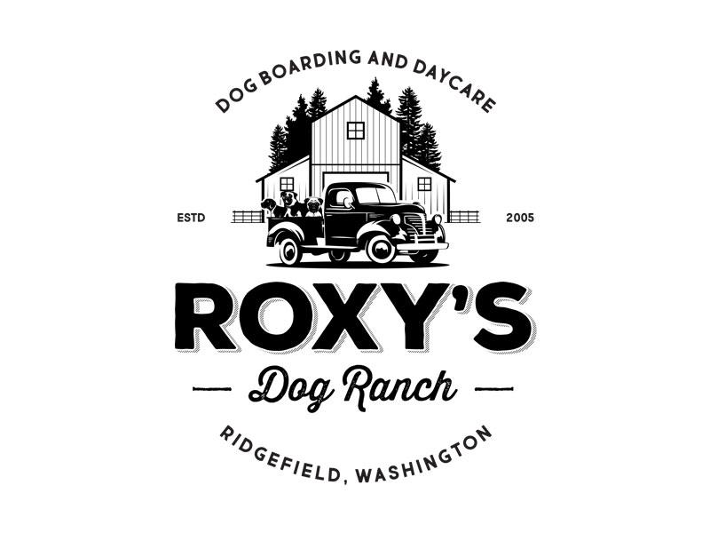 Dog Boarding and Daycare Logo ranch barn oldschool trucj daycare boarding dog