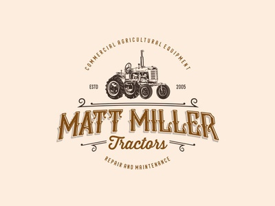 Classic Logo design for tractors repair