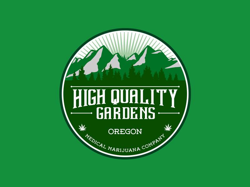 Rounded Logo for Medical Marijuana Co, retro classic vintage gardens oregon marijuana medical
