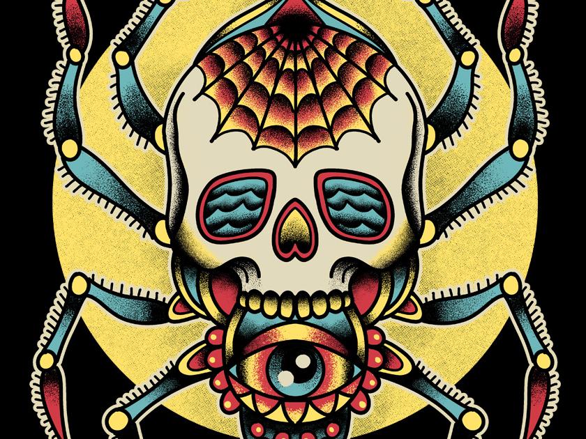 Spider Tattoo Flash apparel design tattoo retro design skull traditional tattoo illustration classic vintage