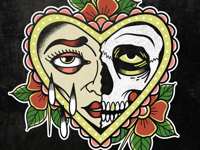 Trust No One apparel design skull traditional tattoo retro illustration logo classic vintage