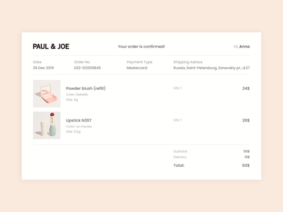 Daily UI #017: Email Receipt fashion confirmation app ecommerce typography ux minimal website web ui ux design design