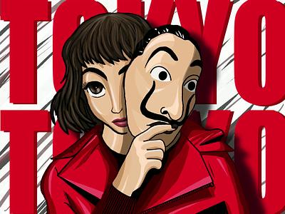 Tokyo- money heist ipad pro procreate character series 2020 netflix illustration 2d heist money