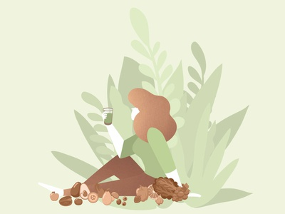 Green Smoothie women woman girl drink nature natural green illustraion character creation design digital art art dribble vector illustrations smoothie