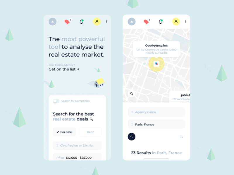 Real estate market interaction design mobile screens house search analytic mobile site mobile ui web design website real estate ux app ui