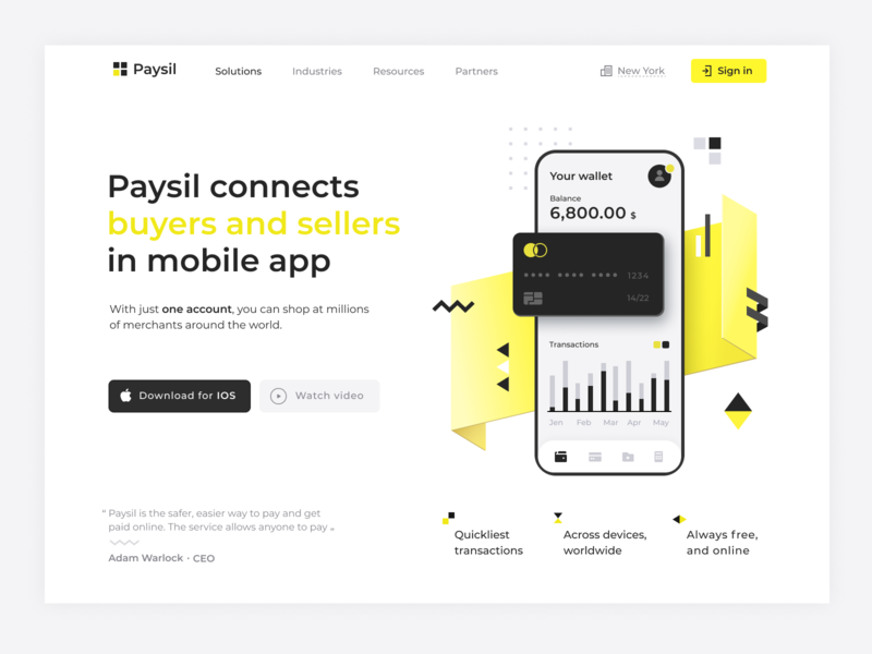 Paysil - concept design of payment system dynamic card ecommerce finance concept main page landingpage website app design payment banking branding ux app ui