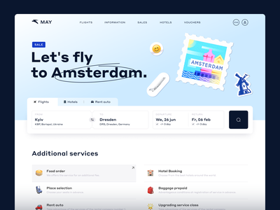 Flight Booking website tourism contrast landingpage travel homepage emoji stickers postmark plane flight fly booking ticket amsterdam minimal web typography design ux ui
