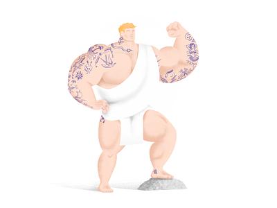 Tattooed Hercules tattoo art heroic charachter muscle tattoo illustration