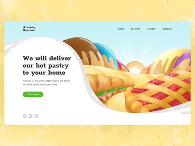 Landing page for bakery landscape web webdesign bread landing page bakery user interface home page vector ui design illustration