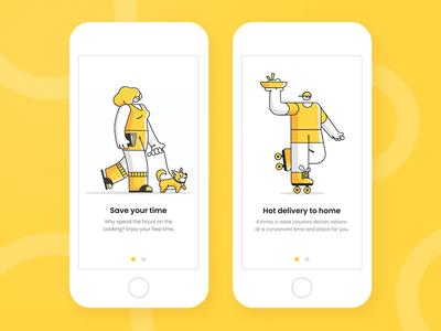 Onboarding for Food delivery app delivery app ux onboarding screen onboarding design health food app ui charachter illustration