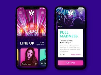 Tomorrowland music festival gradient colors event festival ux music design app ui