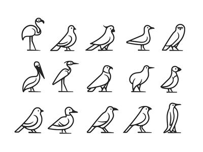 Birds icon set pinguin crow duck puffin kiwi eagle heron pelican owl seagull parrot dove flamingo iconography icon set icon birds animal