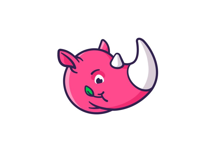 Rhino mascot cute mark rhino illustration vector logotype logo branding animal charachter