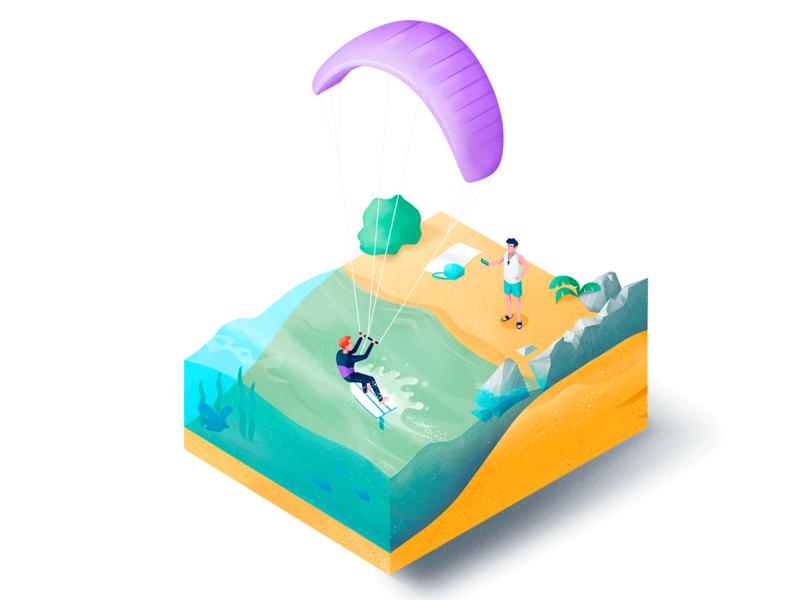 Kiteboarding sea summer board surfing isometry sport isometric texture illustration