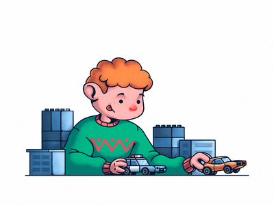 Childhood curly hair buildings freckles ginger city game happy holidays gifts childhood kid cars fast musclecar chase police boy iilustration