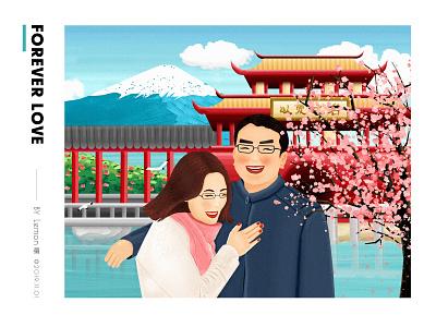 Forever love photo illustration design color illustration