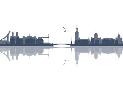 Scandinavian capitals copenhagen oslo stockholm scandinavia silhouette illustration