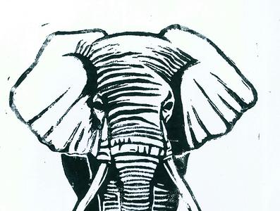 elephant / linogravure / illustration