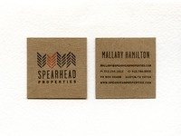Spearhead letterpressed business card
