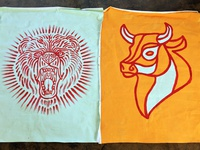 Bear And Bull hand-painted flags