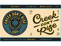 Creek Don't Rise lager label