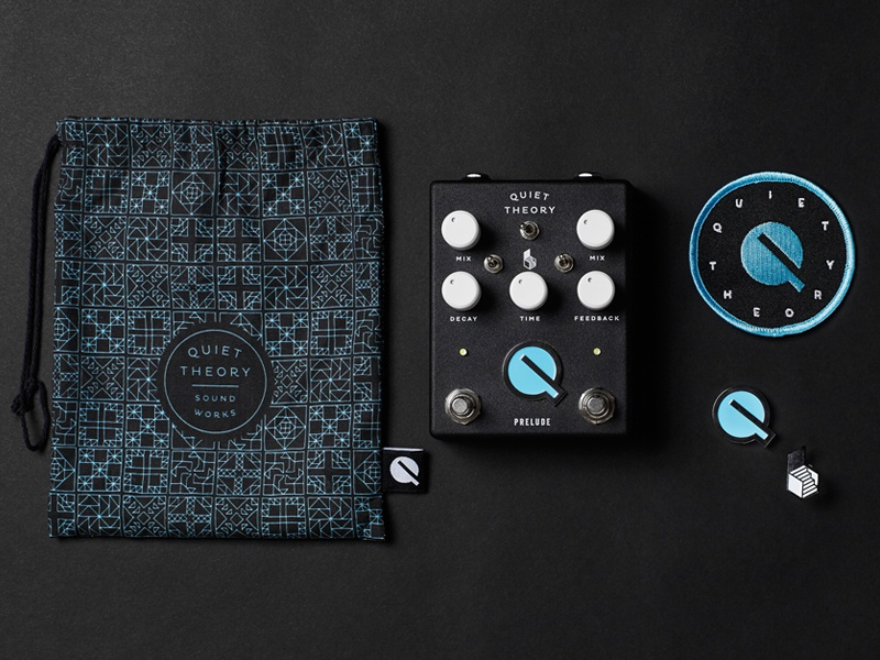 Quiet Theory pedal, packaging, patch, + pins