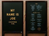 My Name Is Joe menu boards and signage