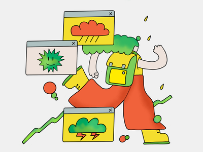 Escape bad weather colorful flat weather editorial illustration editorial character illustration