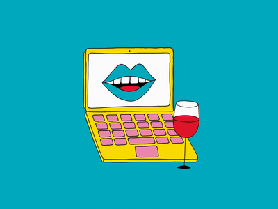 Workplaces wine plant characters animation gif freelance office laptop workplaces motion colorful illustration