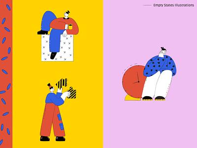 Empty states illustrations colorful texture busy emptystate empty state flat web illustration character ui illustration