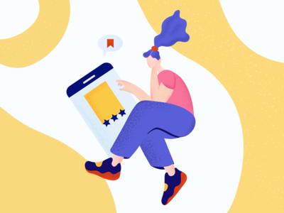 Online reading webillustration mobile girl texture pink yellow ui character illustration