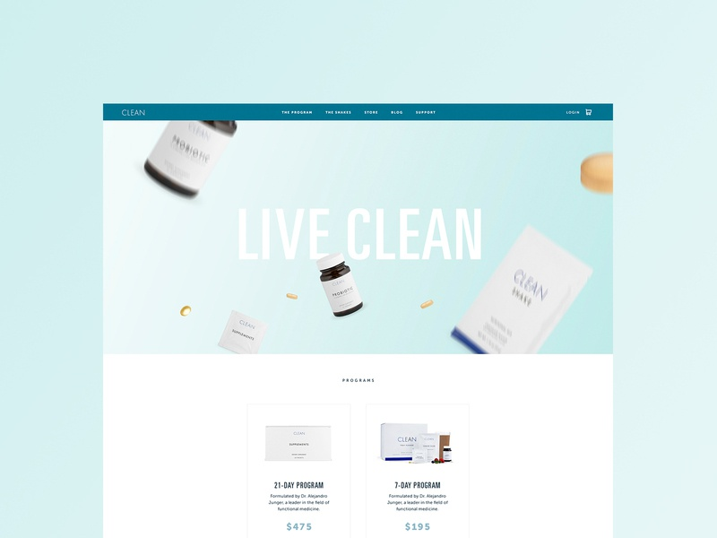 CLEAN branding brand fitness diet visual design active product animation motion flat clean typography type health interactive web design website web