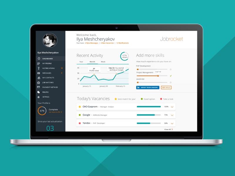 Jobseeker Dashboard jobseeker job profile contacts vacancy chart skills messages match dashboard flat menu