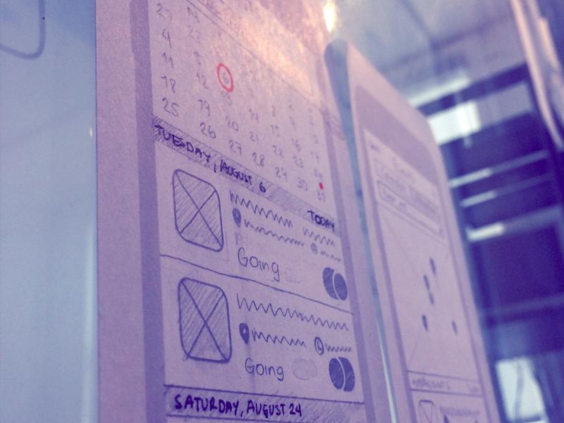 Events App Sketching ui stencils user flow calendar attendees events ux design mobile sketch