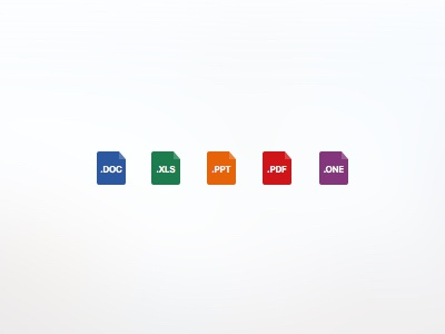 Document Icons flat set icon onenote pdf powerpoint excel word office docs documents