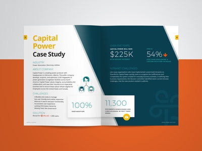 Case Study Design bonzai sharepoint industry energy teal layout infographic magazine editorial