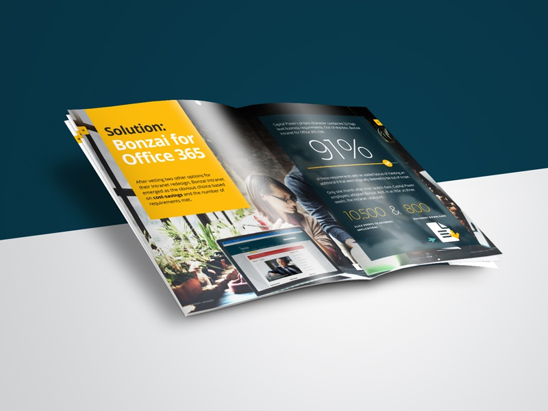 Case Study Design office 365 intranet responsive sharepoint magazine infographic industry energy editorial bonzai
