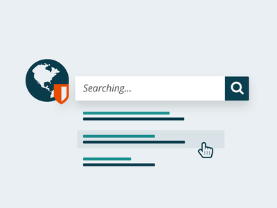 Trusted Search find illustration iconography infographic research list earth search security