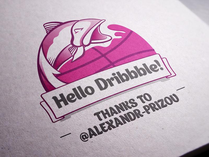 Hello Dribble toons characters vector illustration logo