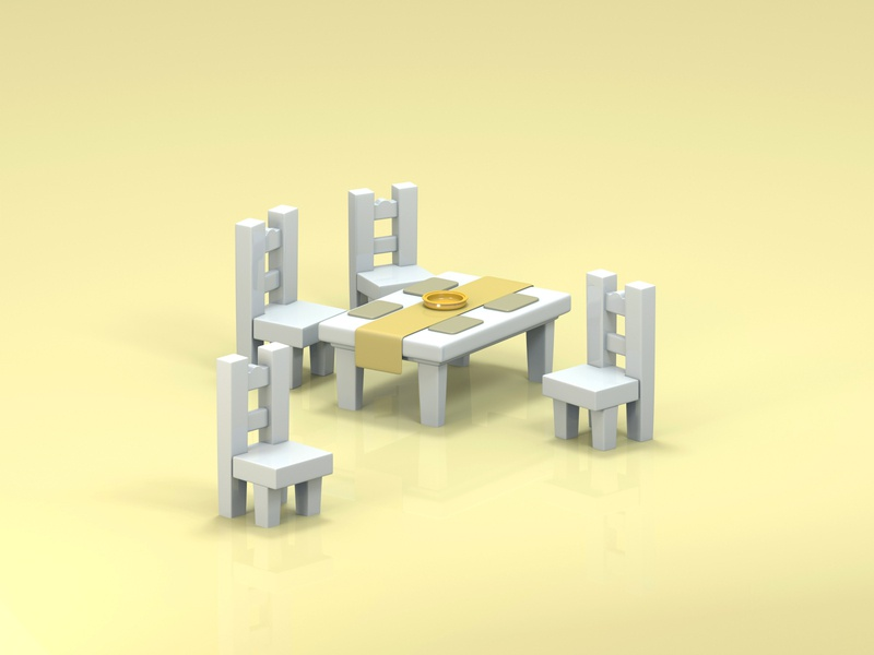 Low Poly Chairs and Table stylized 3d art 3d illustration 3d artist 3d low poly