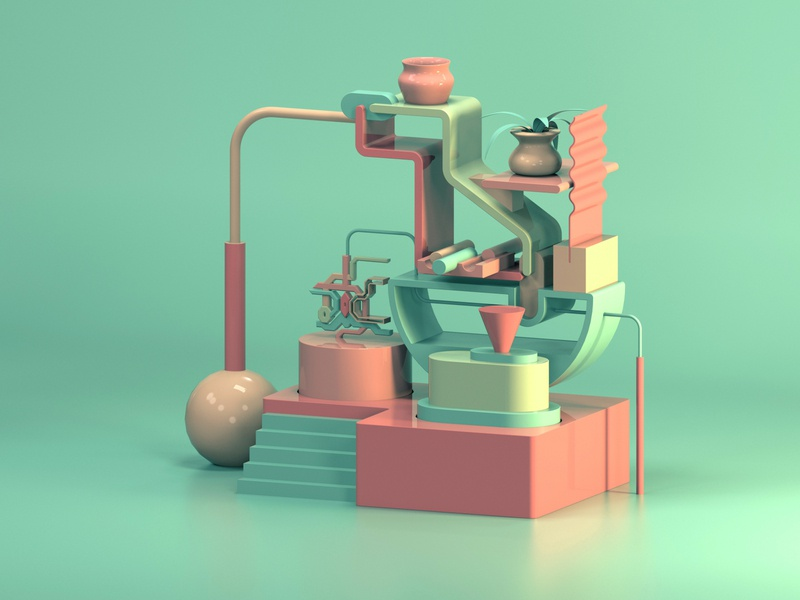 Still life - beauty and imperfection organic colorful cute low poly abstract stylized illustration still life 3d illustration 3d art 3d