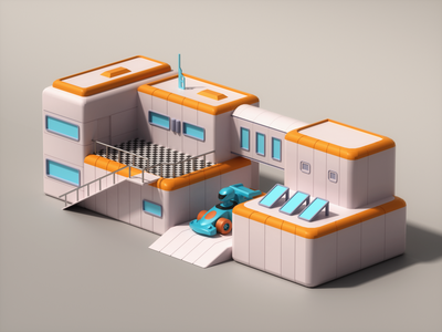 Isometric 3D Sci Fi House Low Poly 3d artist 3d art 3d illustration stylized gameart gamedev cinema4d 3dmodeling isometric lowpolyart lowpoly3d lowpoly 3dmodel render 3dart illustration digitalart 3d