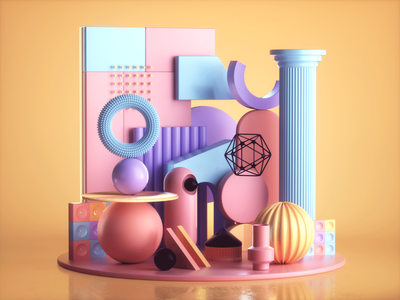 3D Abstract Composition Colorful Pastel colorful isometric set design render cgi illustrator 3d illustrator 3d artist composition abstract low poly illustration design designer 3d illustration 3d art graphic design 3d