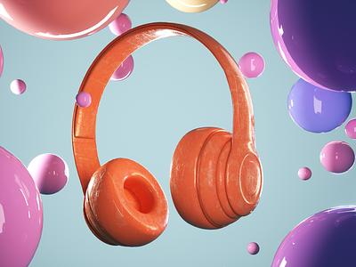 Headphones render stylized 3d illustrator 3d artist illustration design designer 3d illustration 3d art graphic design 3d