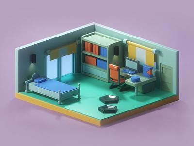 Lan's Room - Mega Man Battle Network 4 GBA design modeling illustration 3d art graphic design 3d nintendo stylized low poly 3d illustrator low poly gba gameboy 3d modeling 3d illustrator 3d illustration
